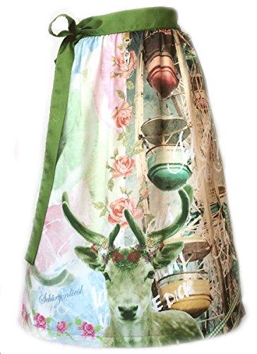Schürzenliesl, Designer Dirndl Schürze Riesenrad, rose grün blau, Strasskrone, (60cm)