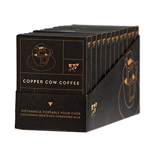 Copper Cow Coffee Vietnamese Single-Use Portable Pour Over – with California Sweetened Condensed Milk Packets – Dark Espresso Roast – 100% Ethically Sourced & Sustainably Grown (12 Pack for Airbnb)