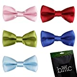 Bundle Monster Stylish Dashing 5pc Boys Tuxedo Novelty Adjustable Neck Bow Tie Lot , Dapper Junior Collection - SET 6