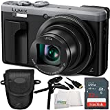 Panasonic Lumix DMC-ZS60 Digital Camera (Silver) 5PC Accessory Bundle. Includes SanDisk 16GB Extreme SDHC Memory Card (SDSDXN2-016G-G46) + Pistol Grip/Table Top Tripod + Micro HDMI Cable + MORE