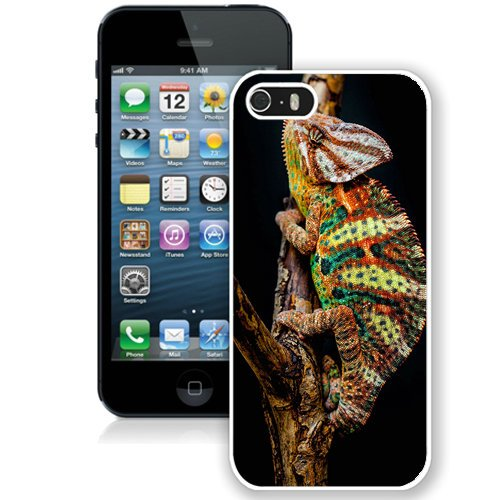 Coque,Fashion Coque iphone 5S Colorful Chameleon Close Up blanc Screen Cover Case Cover Fashion and Hot Sale Design