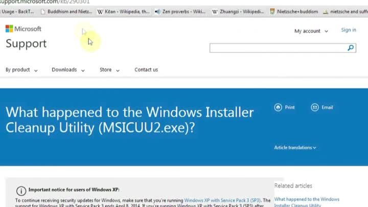 the windows installer clean up utility