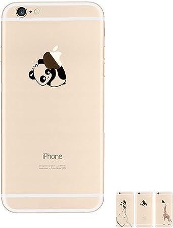 HopMore Cover iPhone 6S / 6 Silicone Morbida Panda e Mela Apple Motivo Trasparenti Disegni Kawaii Case TPU Bumper Animali Custodia Creativo Cover per ...