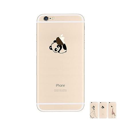 da6a4f0a2b1 HopMore Fundas iPhone 6S / 6 Case Silicona Transparentes Motivo Manzana (  Apple ) y Animal