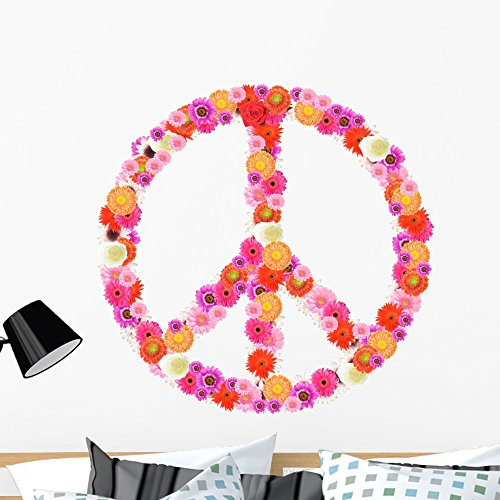 Wallmonkeys Floral Peace Sign Wall Decal Peel and Stick Decals for Girls (36 in H x 36 in W) WM160739