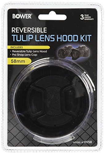 Hakosco Home Appliances Wearable Cameras Bower 58 mm Tulip/Flower Shaped Hood with Lens Cap HV58, Black