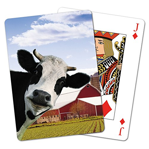 Tree-Free Greetings Deck of Playing Cards, 2.5 x 0.8 x 3.5 Inches, Cow Photobomb  - Gift Greene Card The