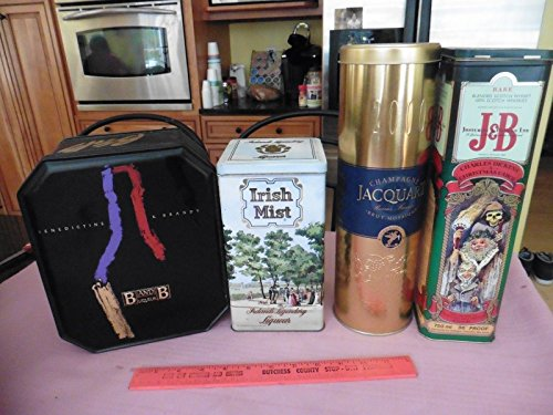 Liqueur Irish (Lot of 4 Tins Jacquart Champagne Irish Mist Liqueur Benedictine & Brandy B&J +)