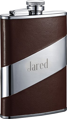 Flask Free Engraving - Personalized Visol Nathan Brown Leather Stainless Steel 8oz Flask with Free Engraving