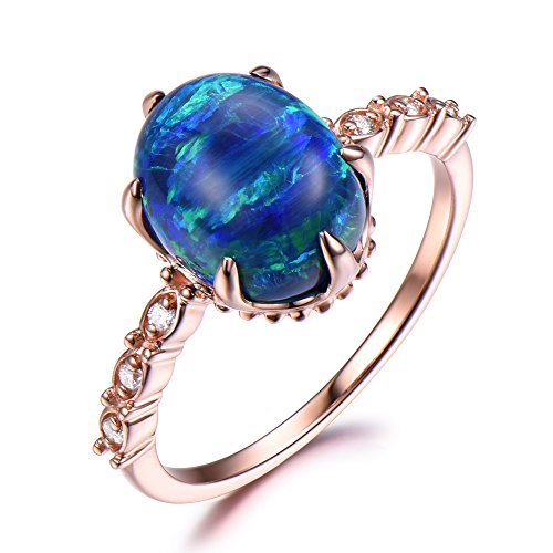 Blue Opal Engagement Ring 8x10mm Oval Cut 925 Sterling Silver Rose Gold Plated Solitaire CZ Diamond Retro by Milejewel Opal Engagement Ring