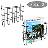 Set of 2 Black Metal Wire Wall Mounted Magazine Holders, File Folder Racks