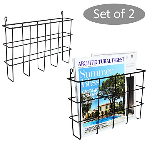 Set of 2 Black Metal Wire Wall Mounted Magazine Holders, File Folder Racks by MyGift