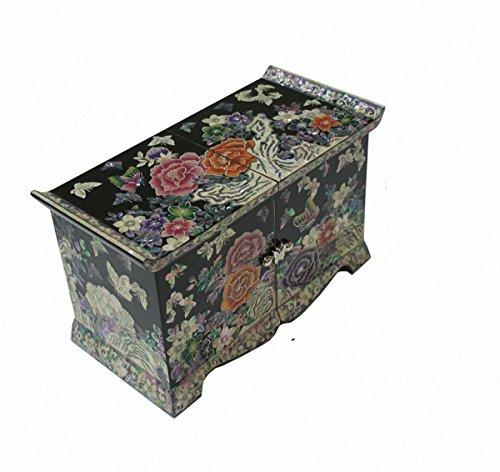 Mother of Pearl Peony Flower Design Jewelry Box Nacre Najeonchilgi Artian Handmade Jewellry Case by JMcore High Quality Jewelry Box