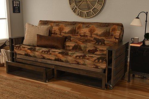 Kodiak Furniture KF Tacoma Full Futon in Rustic Walnut Finish with Storage Drawers ()