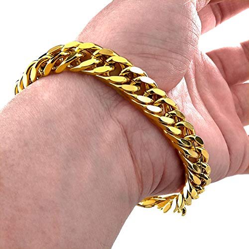 Ahappy 18K 18CT Gold Plated Mens 10mm Width 7 8 9 Length Cool Braclet B119