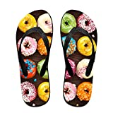 Couple Slipper Doughnuts Coloful Print Flip Flops Unisex Chic Sandals Rubber Non-Slip Beach Thong Slippers