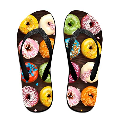 Couple Slipper Doughnuts Coloful Print Flip Flops Unisex Chic Sandals Rubber Non-Slip Beach Thong Slippers by Lojaon