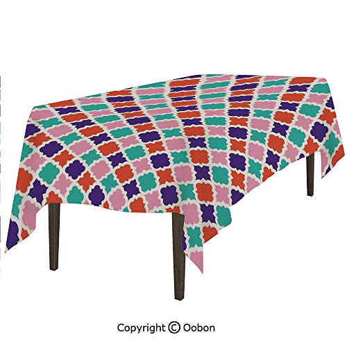oobon Space Decorations Tablecloth, Colorful Mosaic Tiles Oriental Asian Islamic Ikat Indonesian Patterns Motifs Decorative Home, Rectangular Table Cover for Dining Room Kitchen, W90xL132 inch