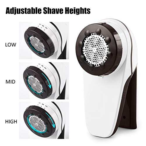 ANVS Professional USB Rechargeable Fabric Shaver and Lint Remover with 3-Adjustable Shave Height for Your Clothes, Sofa, Sheets, Curtain, 1 Extra Replaceable Shave Blade Included by ANVS (Image #2)