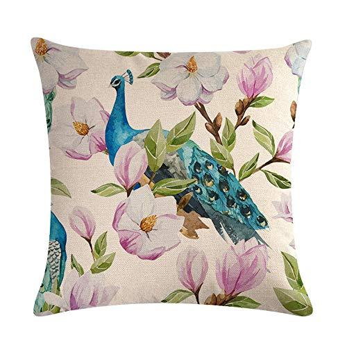 GTQC Idyllic Flower Bird Series Linen Hug Pillowcase Cushion Cover 3 4545cm
