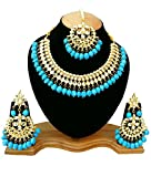 Finekraft Meena Kundan Bridal Wedding Designer Gold Plated Turquoise Color Necklace Jewelry Set