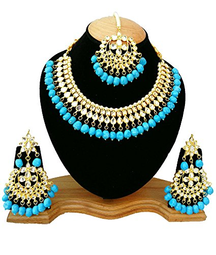 Finekraft Meena Kundan Bridal Wedding Designer Gold Plated Turquoise Color Necklace Jewelry Set by Finekraft
