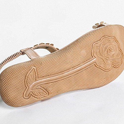 Inkach® Femmes Été Bohème Perles De Fleurs Tongs Chaussures Tongs Plates Khaki_2