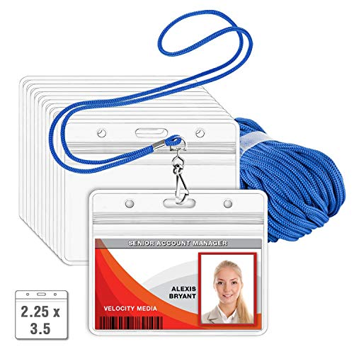 MIFFLIN Lanyard (Blue, 2.25x3.5 Inch, 250 Pack) with Clear Plastic Horizontal ID Badge Holder, Heavy Duty Pouch with Soft, Woven, Neck Lanyards
