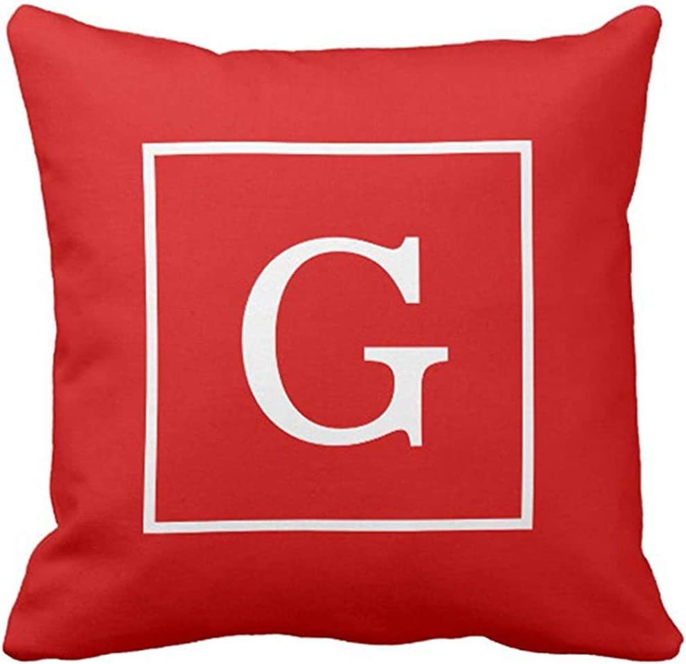 Throw Pillow Cover Preppy Red White Framed Initial Monogrammed Decorative Pillow Case Home Decor Square 18 x 18 Inch Pillowcase