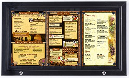 - Displays2go Weather Resistant Magnetic Surface Bulletin Board With Swing-Open Locking Door, Black Finish Aluminum Frame (ODM851431)