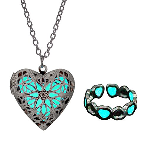Magical Fairy Glow in the Dark Heart Shape Necklace-aqua-sil & Bracelet Anklet Ring set ()