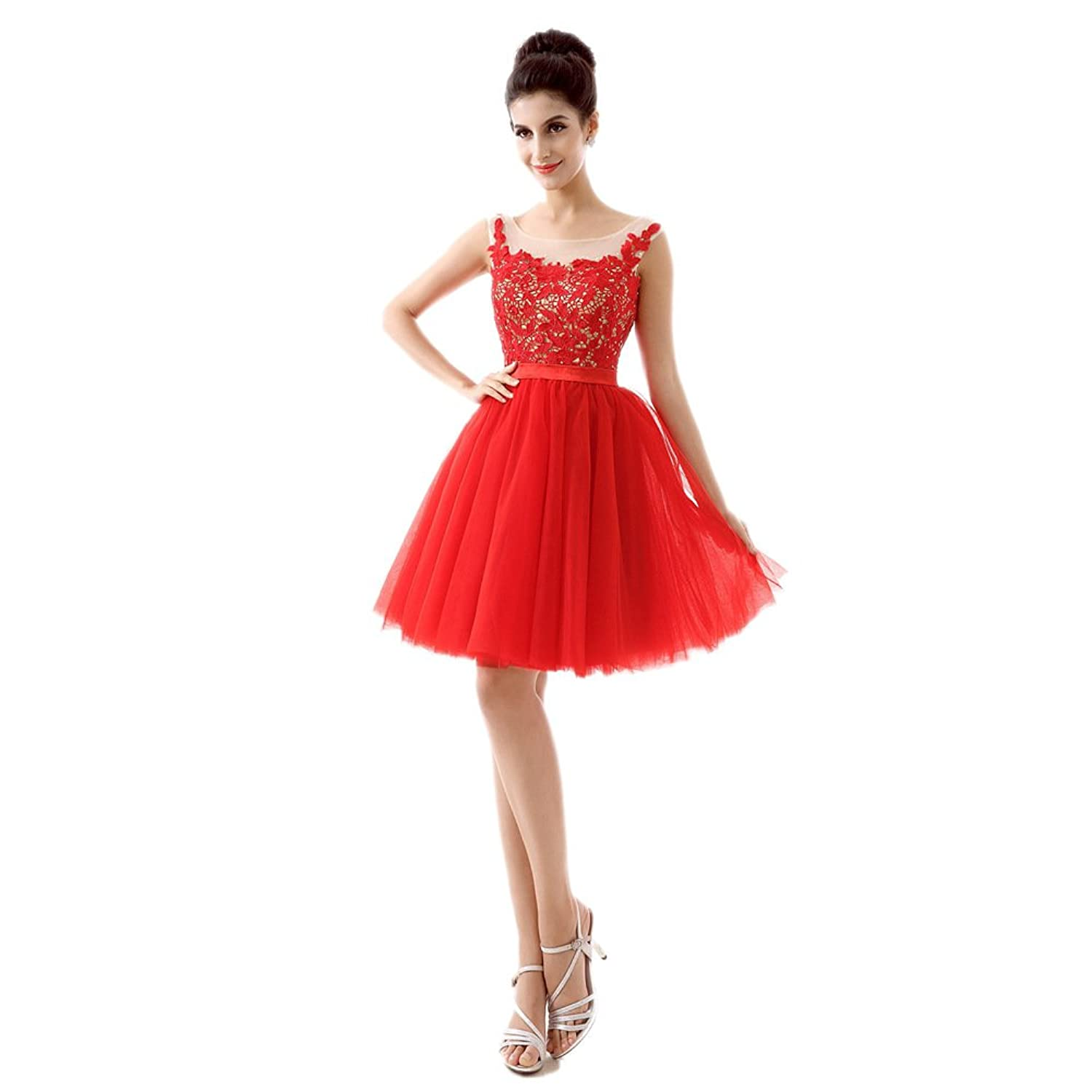 Ikerenwedding Women's Empire A-Line Knee Length Lace Tulle Homecoming Dress