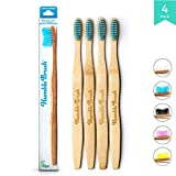 Bamboo Vegan Toothbrush [Set 4] - All Natural Wooden Toothbrushes - Organic, Eco-Friendly and Biodegradable with BPA Free Bristles - Helps Save the Planet and Kids in Need (Adult (medium), Blue)