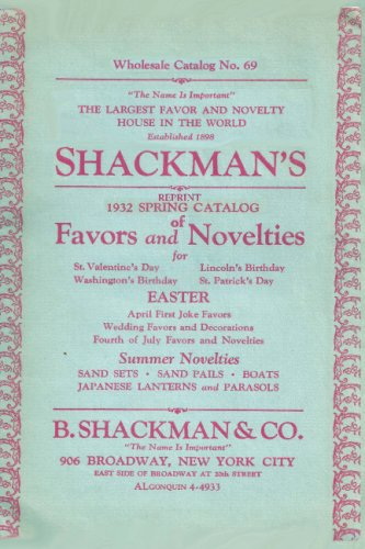 Shackman's Reprint 1932 Spring Catalog Of Favors And Novelties