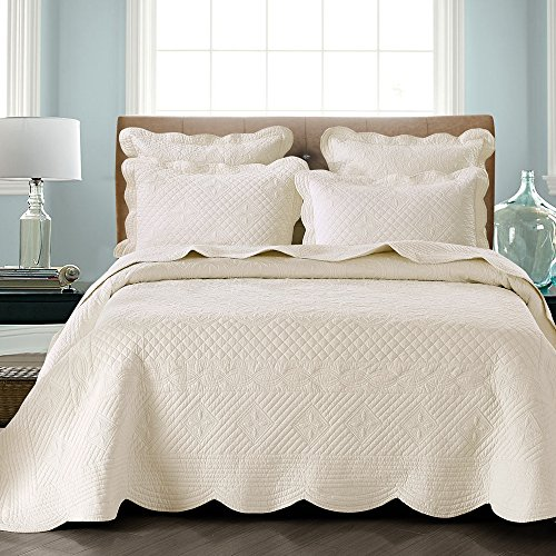 Calla Angel HM-3R0D-ZNR5 Sage Garden Luxury Pure Cotton Quilt,Ivory,King