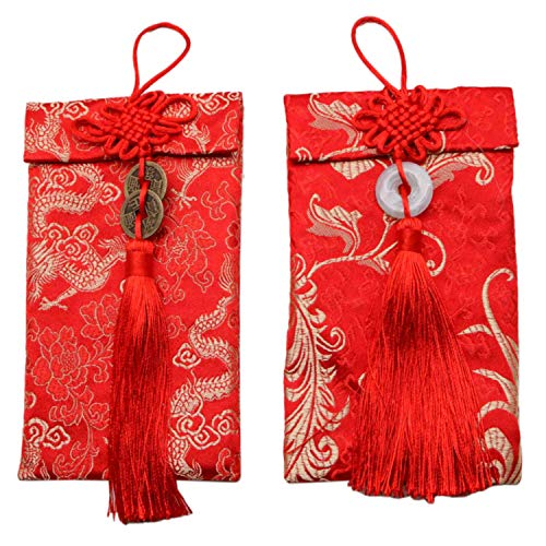 JETEHO 2 Pack Red Chinese Hongbao Envelopes for Business Occasion, Invited Card, Wedding, Birthday, 2019 Chinese New Year Party]()