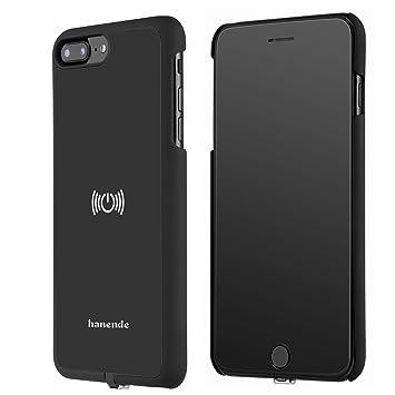 hanende Receptor Inalámbrico Compatible con iPhone 7 Plus, Qi Inalámbrico Carga Caso con Flexible Conector Lightning (Negro)