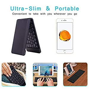 Bluetooth Folding Wireless Keyboard, Alitoo Rechargeable Ultra Slim Portable Ergonomic Design Keyboard for iPad iPhone Android Devices Kindle Fire Computer Tablets (Black)