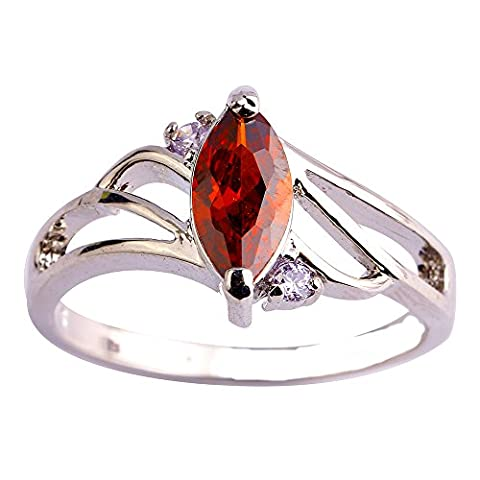 Empsoul 925 Sterling Silver Natural Novelty Simulated Garnet Topaz Marquise Cut Engagement Ring (Garnet Rings Clearance)