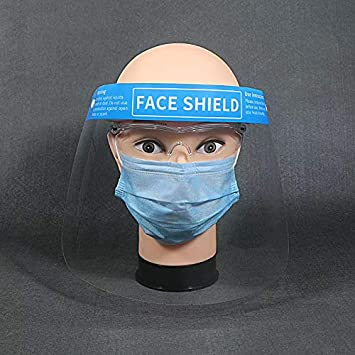 Blue 5Pack Kids Shields Full Face Visor Protection PET Transparent Clear Plastic