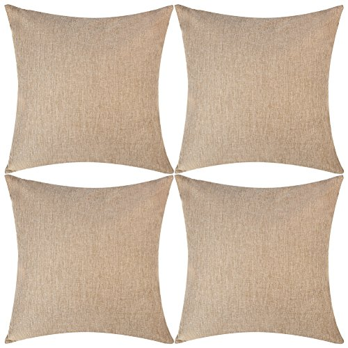 DEZENE Throw Pillow Covers,Set of 4 Natural Linen Look Fabric Cushion Covers,Decorative Lined Square Pillow-case for Car,18 x 18 Inch,Brown ()