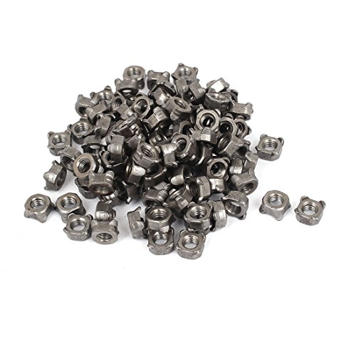 Uxcell a16032800ux0917 Square Weld Nut M6 Female Thread Metal Square Weld Nuts Dark Gray 6Mm Height 100 Pcs