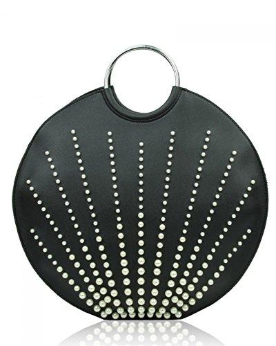 LeahWard Women's Quality 2 IN 1 Handbag Top Handle Bags 846 Black Pearl