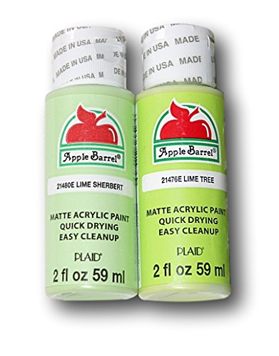Set Sherbert (Apple Barrel Acrylic Paint Lime Green Hues Set - Lime Sherbert & Lime Tree (2 Ounces Each))