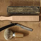 Hestya 3 Pieces Leather Strop with Compounds Kit, 1 Piece Leather Honing Strop Block Stropping Leather Paddle Strop with 2 Pieces 4.58 oz Green White Buffing Polishing Compounds
