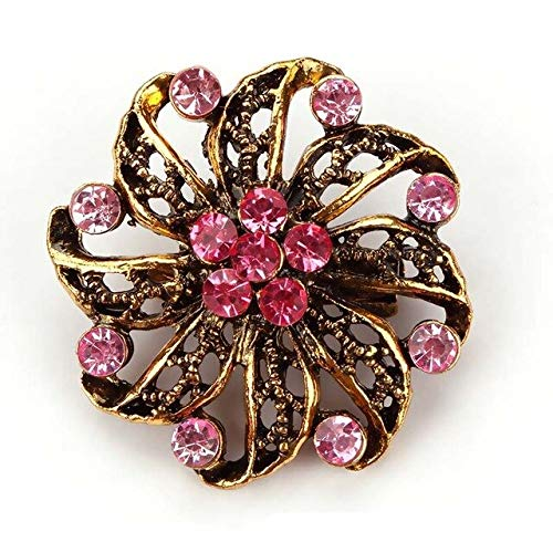 (Antique Gold Color Plated Assorted Designs Crystal Rhinestones Small Flower Brooch Pins for Women or Wedding - 5387)