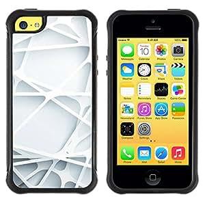 Suave Caso Carcasa de Caucho Funda para Apple Iphone 5C 3d art lines web plastic white clean / JUSTGO PHONE PROTECTOR