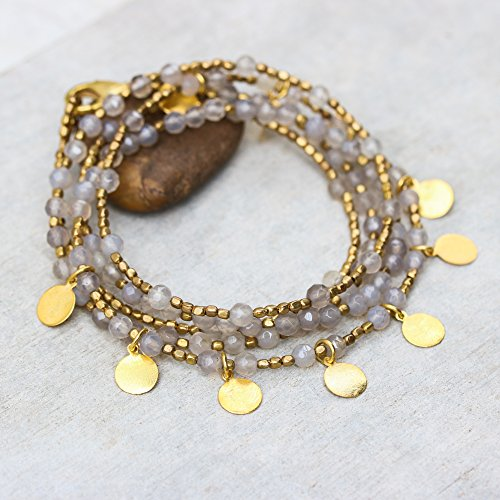 - White chalcedony faceted beads wrap bracelet with gold 22k plated on brass beads and golden disc decoration