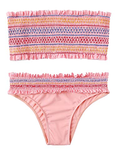 DIDK Women's Ruched Bandeau Bikini Set Pink M