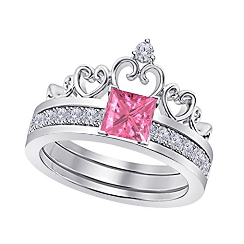 Pink Sapphire Ring Princess (14k White Gold Finish 925 Sterling Silver Princess Cut 6MM Created Pink Sapphire & White Cubic Zirconia Round Interchangeable Crown Engagement & Wedding Ring Set Women's Jewelry)